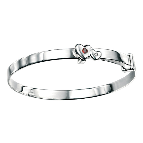D For Diamond Silver Adjustable Two Heart Bangle For Girls B3287