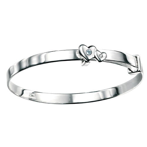 D For Diamond Silver Adjustable Two Heart Bangle For Girls B3289