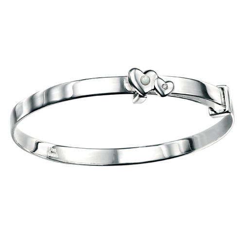 D For Diamond Silver Adjustable Two Heart Bangle For Girls B3292