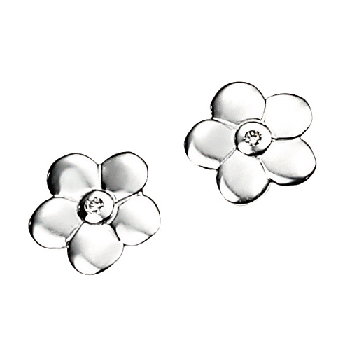 D For Diamond Silver Flower Earrings For Girls E3504
