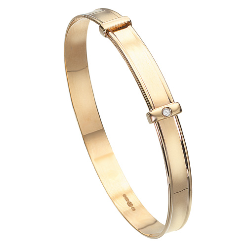 D For Diamond 9Ct Yellow Gold Adjustable Bangle For Girls Gb047