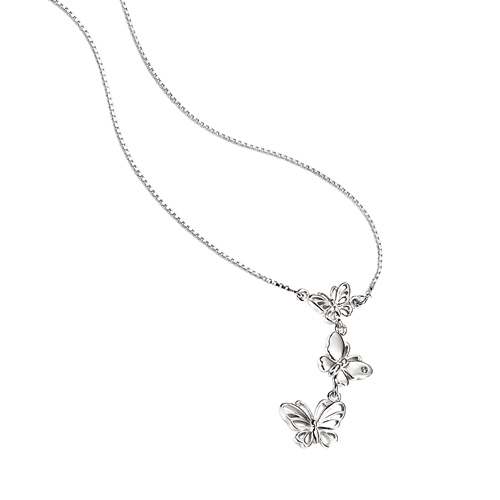 D For Diamond Silver Three Butterflie Necklace For Girls N2797