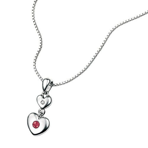 D For Diamond Silver Two Heart Pendant For Girls P2956