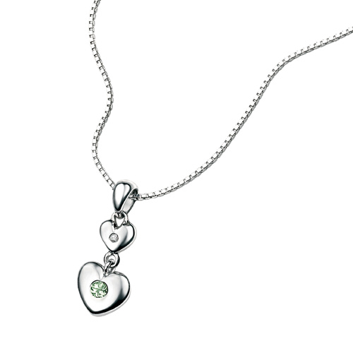 D For Diamond Silver Two Heart Pendant For Girls P2957