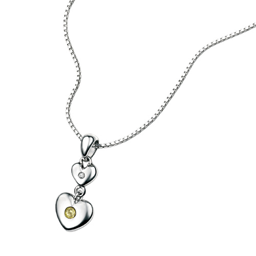 D For Diamond Silver Two Heart Pendant For Girls P2960