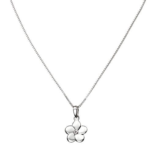 D For Diamond Silver Flower Pendant For Girls P2967