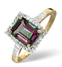 9K Yellow Gold 0.12Ct Diamond, Mystic Topaz Ring From Catalina Diamonds C3260