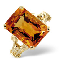 9K Yellow Gold Diamond, Golden Citrine Ring From Catalina Diamonds Y1622