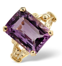9K Yellow Gold Diamond, Amethyst Ring From Catalina Diamonds Y1277