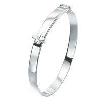 D For Diamond Silver Adjustable Cross Bangle For Boys B2660