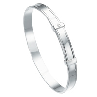 D For Diamond Silver Adjustable Bangle For Girls B306