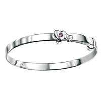 D For Diamond Silver Adjustable Two Heart Bangle For Girls B3288