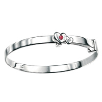 D For Diamond Silver Adjustable Two Heart Bangle For Girls B3293