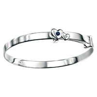 D For Diamond Silver Adjustable Two Heart Bangle For Girls B3295