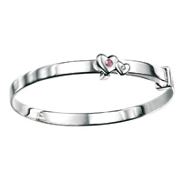 D For Diamond Silver Adjustable Two Heart Bangle For Girls B3296