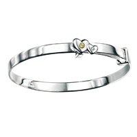 D For Diamond Silver Adjustable Two Heart Bangle For Girls B3297