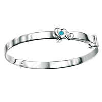 D For Diamond Silver Adjustable Two Heart Bangle For Girls B3298