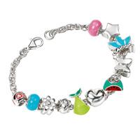 D For Diamond Silver Eleven Charms Bracelet For Girls B3304