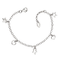 D For Diamond Silver Star Bracelet For Girls B3309