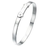 D For Diamond Silver Adjustable Heart Bangle For Girls B773