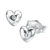 D For Diamond Silver Heart Earrings For Girls E572