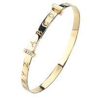 D For Diamond 9Ct Yellow Gold Adjustable Abc Bangle For Boys Gb232
