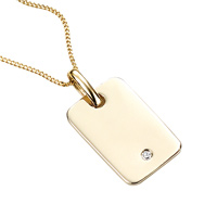 D For Diamond 9Ct Yellow Gold Tag Pendant For Boys Gp593