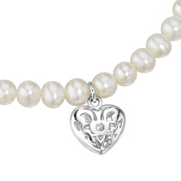 D For Diamond Silver Heart Necklace For Girls N2370W