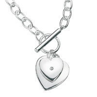 D For Diamond Silver Two Heart Necklace For Girls N2384