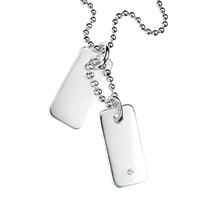 D For Diamond Silver Two Tag Necklace For Boys N2633