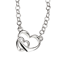D For Diamond Silver Two Heart Necklace For Girls N2796