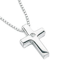 D For Diamond Silver Cross Pendant For Boys P2412