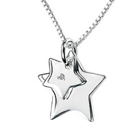 D For Diamond Silver Two Star Pendant For Girls P2763