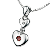 D For Diamond Silver Two Heart Pendant For Girls P2950