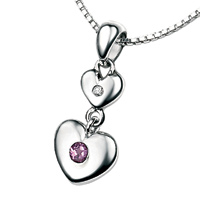 D For Diamond Silver Two Heart Pendant For Girls P2951