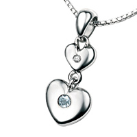D For Diamond Silver Two Heart Pendant For Girls P2952