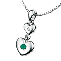 D For Diamond Silver Two Heart Pendant For Girls P2954
