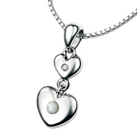 D For Diamond Silver Two Heart Pendant For Girls P2955