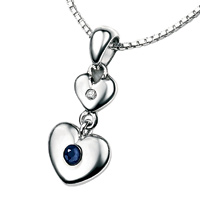 D For Diamond Silver Two Heart Pendant For Girls P2958