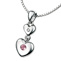 D For Diamond Silver Two Heart Pendant For Girls P2959