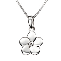 D For Diamond Silver Flower Pendant For Girls P2967