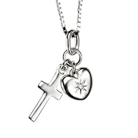 D For Diamond Silver Cross Pendant For Girls P2970