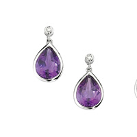9K White Gold 0.16Ct Amethyst, Diamond Earrings From Elements Gold GE465M