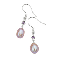 9K White Gold 0.01Ct Fresh Water Pearl, Amethyst, Diamond Earrings From Elements Gold GE478M