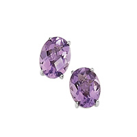 9K White Gold Amethyst Earrings From Elements Gold GE535M