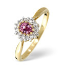 9K Yellow Gold 0.12Ct Diamond, Pink Sapphire Ring From Catalina Diamonds C3223