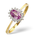 9K Yellow Gold 0.08Ct Diamond, Pink Sapphire Ring From Catalina Diamonds Y2097