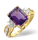9K Yellow Gold 0.03Ct Diamond, Amethyst Ring From Catalina Diamonds C3256