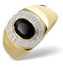 9K Yellow Gold 0.06Ct Diamond, Sapphire Ring From Catalina Diamonds D1168