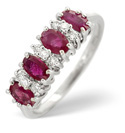 9K White Gold 0.14Ct Diamond, Ruby Ring From Catalina Diamonds Y1831